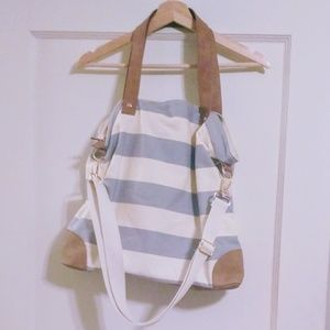 Gray/white stripe tote